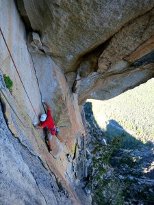 Pitch 3 of the Ellen Pea route. 5.11a. Spectacular and bizarre the pitch is less intimidating than it appears.