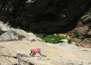 Pitch 2 of The Tiger, 5.10d. The golden granite remains consistently high quality throughout the height of the wall.